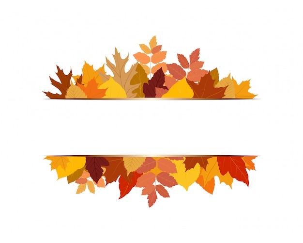 Illustratie van verschillende kleurrijke herfstbladeren met banner
