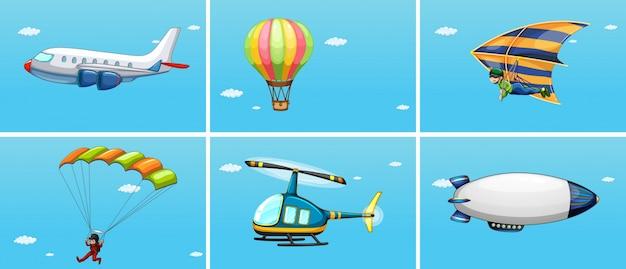 Illustratie van verschillende manieren van vervoer in de lucht