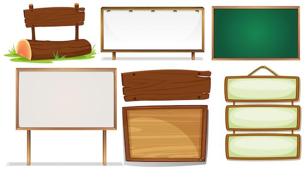 Illustratie van verschillende ontwerpen van houten borden