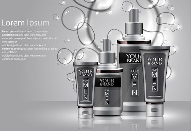 Illustratie van verschillende soorten cosmetica voor mannen