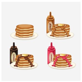 Illustratie van verschillende soorten pannenkoeken. esdoornsiroop honing en boter, chocoladesiroop, aardbeiensiroop.