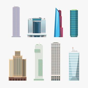 Illustratie van verschillende vormen en stijl sky scrappers set geïsoleerd op een witte achtergrond