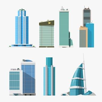 Illustratie van verschillende wolkenkrabbers in vooraanzicht