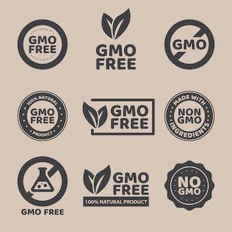 Illustratie van verschillende zwarte gmo-vrije emblemen