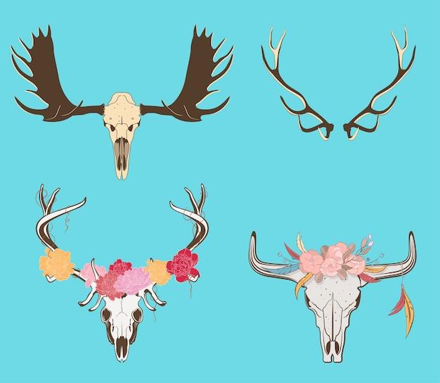 Illustratie van versierde koe en hertenschedel