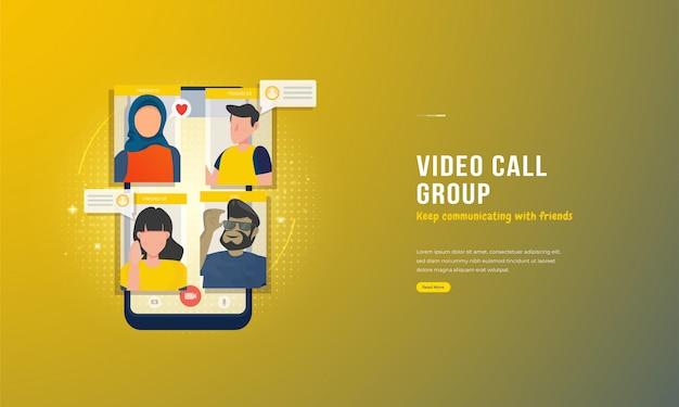 Illustratie van videogesprekconferentie met vrienden op het concept van het smartphonescherm