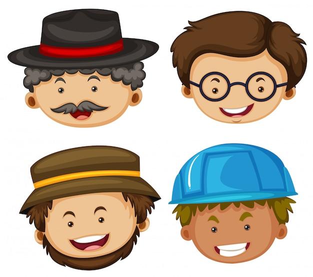 Illustratie van vier hoofden van mannelijke personages