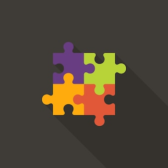 Illustratie van vier puzzel plat pictogram
