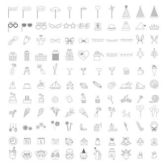 Illustratie van viering partij pictogrammen instellen