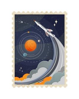 Illustratie van vintage ruimte postzegel met planeten en vliegende raket