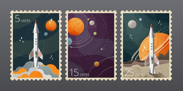 Illustratie van vintage ruimte postzegel met planeten geïsoleerd op een grijze achtergrond