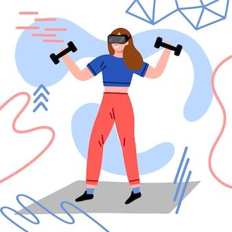 Illustratie van virtuele sportschool