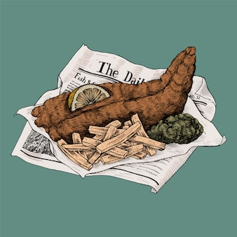 Illustratie van vis met patat