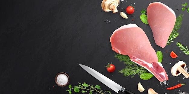 Illustratie van vlees en groenten op zwarte tafel