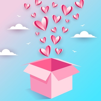 Illustratie van vliegende liefde open doos