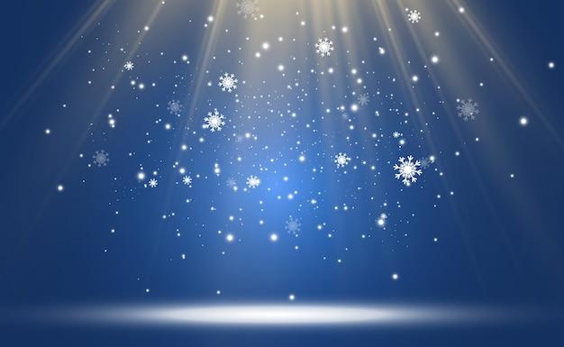 Illustratie van vliegende sneeuw natuurlijk fenomeen van sneeuwval