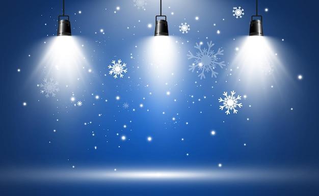 Illustratie van vliegende sneeuw natuurverschijnsel van sneeuwval of blizzard