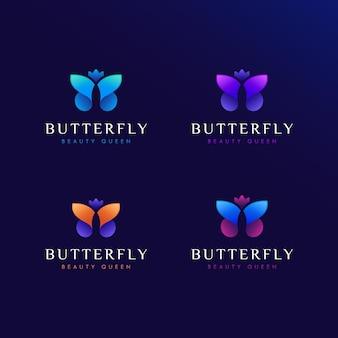 Illustratie van vlinderontwerpembleem met kroon, met kleurrijke en moderne embleemontwerpstijl