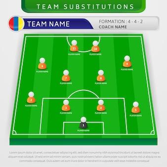 Illustratie van voetbalteam substituties strategie sjabloon