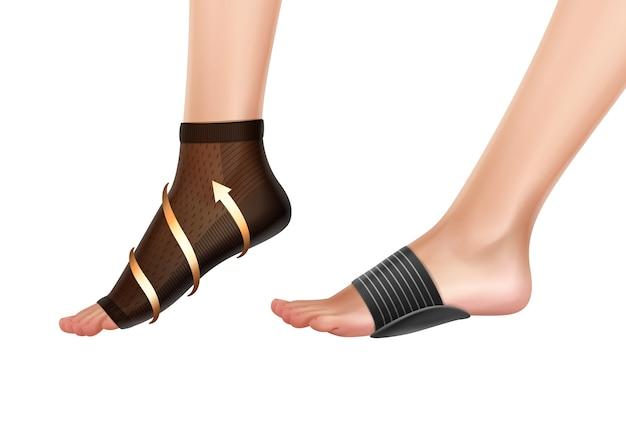 Illustratie van voeten met verschillende elastische en orthopedische verbanden voor steun enkel