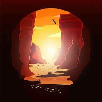 Illustratie van vogel die in de woestijn bij zonsondergang vliegt