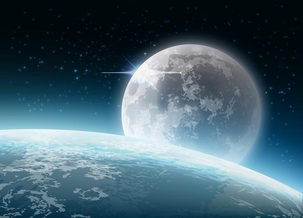 Illustratie van volle maan met aarde achtergrond met satellietweergave vanuit de ruimte