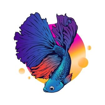 Illustratie van volledige kleuren betta-vissen