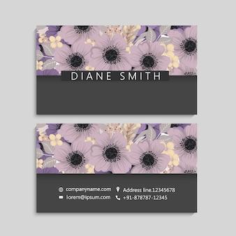 Illustratie van voor- en achterkant van visitekaartje met bloemen