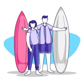 Illustratie van voorbereidingen voor surfen tijdens het zomerseizoen op een prachtig strand voor ontwerpen van bestemmingspagina's, websites en banners
