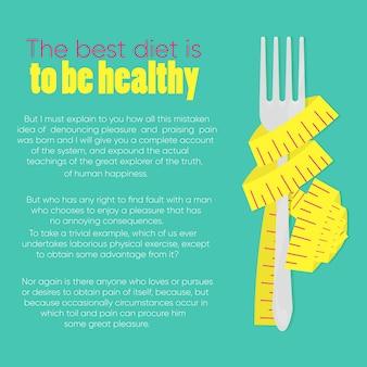 Illustratie van vork gebonden meetlint op lichtblauwe achtergrond met plaats voor tekst in platte cartoon stijl.