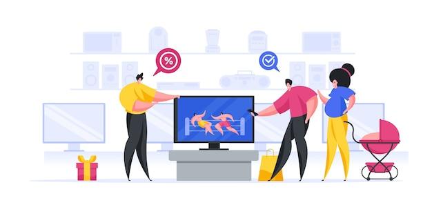 Illustratie van vriendelijke verkoper die korting op moderne tv aanbiedt