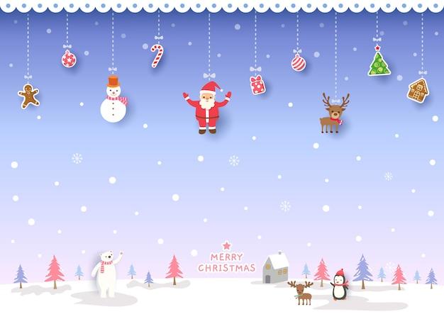 Illustratie van vrolijk kerstmisontwerp met ornamenten