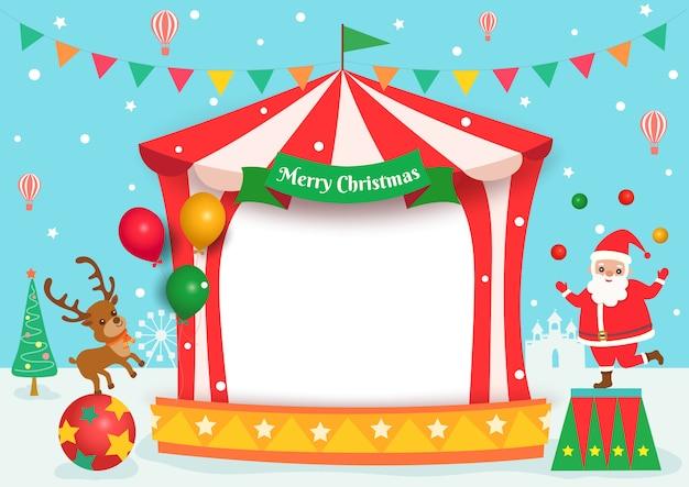 Illustratie van vrolijke kerstmis met carnaval-themapartij.
