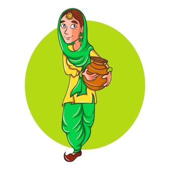 Illustratie van vrouw die een pot en het glimlachen draagt.