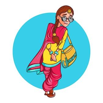 Illustratie van vrouw die zonnebril en het glimlachen draagt.