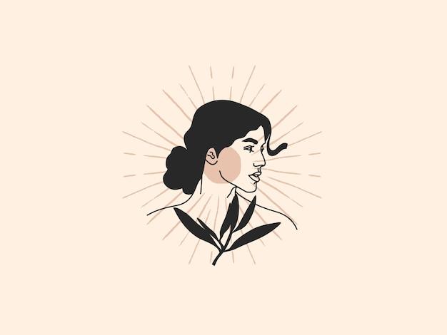 Illustratie van vrouw met plant