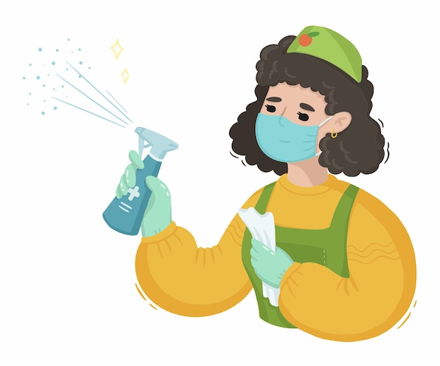 Illustratie van vrouw schoonmaakster met ontsmettingsmiddel tegen virus