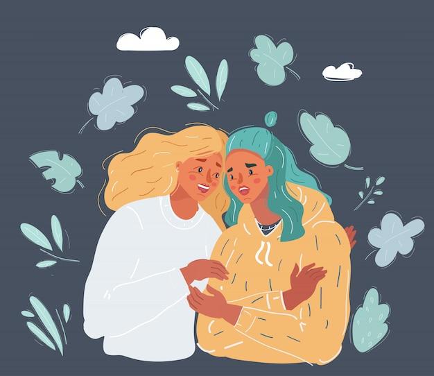 Illustratie van vrouw troostende huilende vriend met warme knuffel op donkere achtergrond.