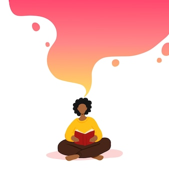 Illustratie van vrouw zitten en boek lezen, dromen.