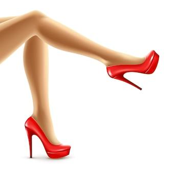 Illustratie van vrouwelijke benen in rode schoenen.