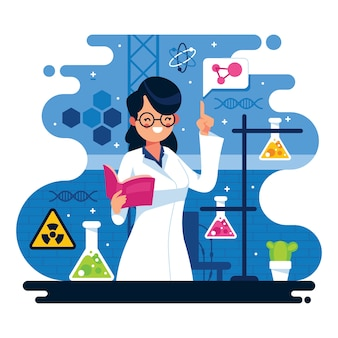 Illustratie van vrouwelijke wetenschapper