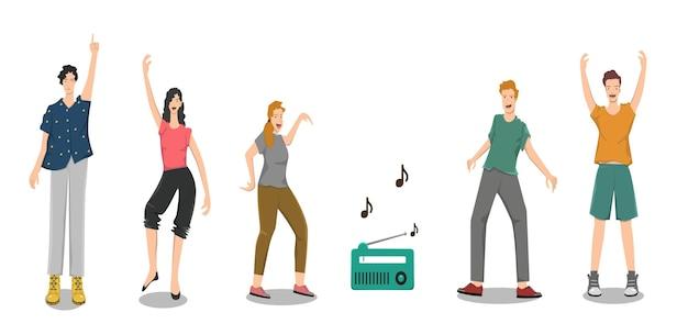 Illustratie van vrouwen en mannen die cartoon dansen