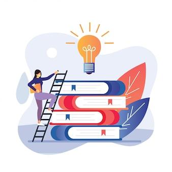 Illustratie van vrouwen gaan de trap op om succes te behalen in het onderwijs, de universiteit, met neonboeken voor het onderwijs app. moderne concepten voor website- en mobiele website-ontwikkeling.