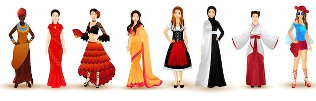 Illustratie van vrouwen in traditionele kledij uit verschillende landen.