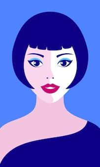 Illustratie van vrouwengezicht op make-up