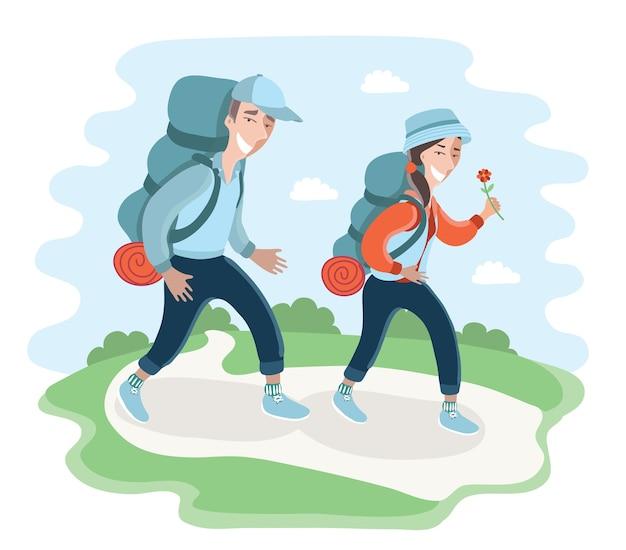 Illustratie van wandelende kampeertoeristen die rugzakken dragen