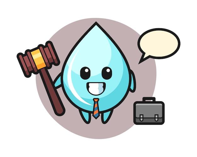 Illustratie van waterdruppel mascotte als advocaat, schattig stijl ontwerp voor t-shirt