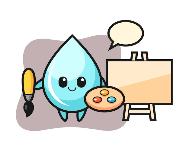 Illustratie van waterdruppel mascotte als schilder, schattig stijl ontwerp voor t-shirt