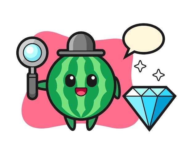 Illustratie van watermeloen karakter met een diamant