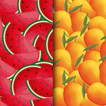 Illustratie van watermeloen met mangofruit